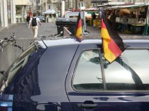 black red and gold on a german car