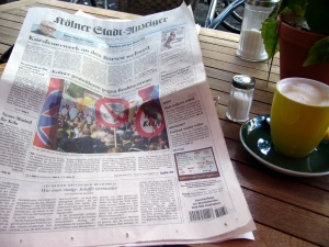 Anti-Nazi demonstrations get front page coverage in Cologne's leading local paper
