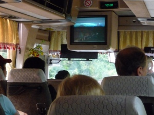 On board entertainment on a Mekong Bus