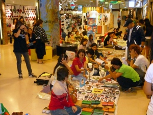 Young designers at the Idea Market at Bangkok's Kamphaeng Phet subway station