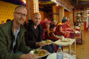 next to the reincarnation in the dining hall of Punakha dzong