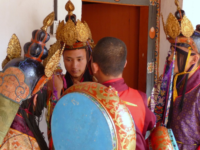 Monks in costume for the Tsechu