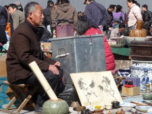 Old market seller at Panjiayuan fleamarket