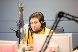 Shirin Ebadi giving a radio interview Photo: deutsche welle / flickr