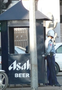 traffic cops and Asahi beer